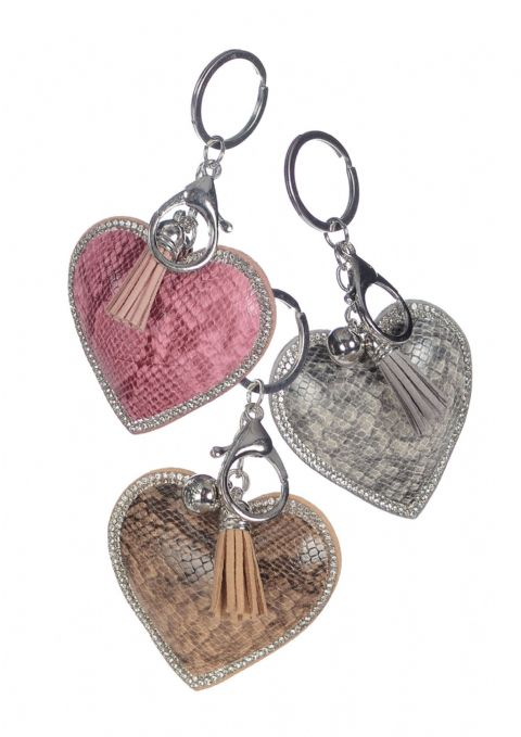 HEART FAUX SNAKE & CRYSTAL KEYRING NATURAL